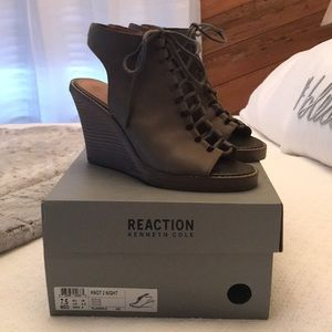 Olive Green Lace Up Wedge Heels